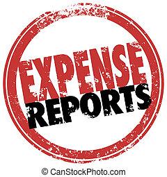 business, timbre, reimburse, coûts, rapport, dépense, rouges