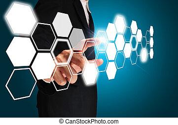 business, toucher, homme, écran, imaginaire