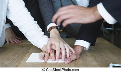 business, uni, fond, équipe, espace de travail, mains