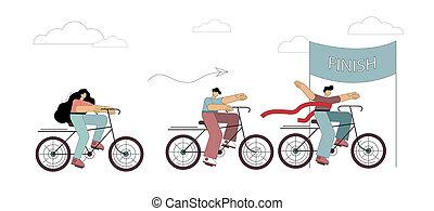 business, vélo, gens., illustration, ligne., concurrence, finition, intersection, 3, cyclisme, success.