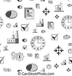 business, vecteur, industriel, icônes, plat, seamless, modèle