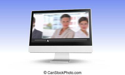 business, vidéo, équipe, poser