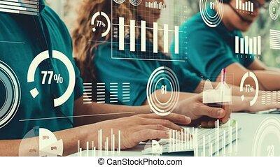 business, visuel, créatif, gens, informatique, bureau, fonctionnement