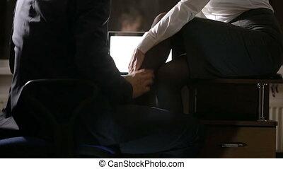 business, work., sexuel, workplace., avoir, relations, couple, sexe, jeune