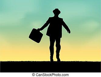 businessman., icône, homme, silhouette, conceptual., élégant