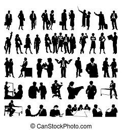 businessmen., silhouettes, vecteur, noir, illustration