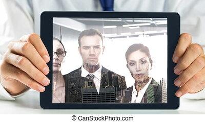 businesspeople, projection, tablette, vidéo