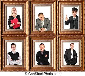 bussinessmen, business, themed, court, collage, portraits, réussi, six, encadré