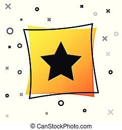 button., carrée, étoile, mieux, favori, isolé, jaune, symbole., arrière-plan., vecteur, récompense, illustration, noir, blanc, classement, icône