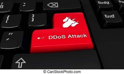 button., mouvement, attaque, clavier ordinateur, rond, ddos