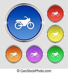 buttons., signe., moto, symbole, clair, vecteur, coloré, rond, icône
