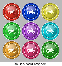 buttons., signe., moto, symbole, vecteur, neuf, coloré, rond, icône