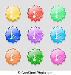 buttons., signe., ondulé, neuf, hookah, coloré, symbole, icône