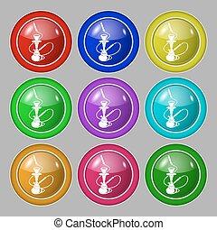 buttons., signe., symbole, vecteur, hookah, neuf, coloré, rond, icône