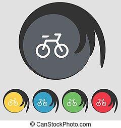 buttons., vélo, coloré, signe., vecteur, cinq, symbole, icône