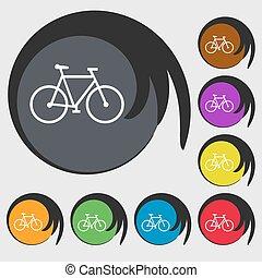 buttons., vélo, coloré, symboles, vecteur, huit, icon.