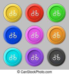 buttons., vélo, signe., symbole, vecteur, neuf, coloré, rond, icône