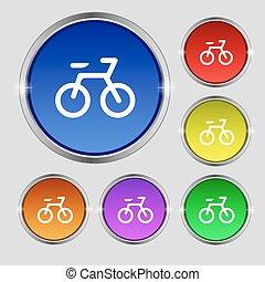 buttons., vélo, symbole, clair, vecteur, signe., coloré, rond, icône