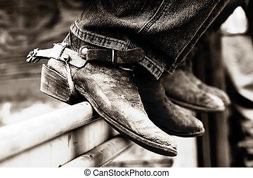 (bw), cow-boy, &, bottes, rodéo, éperons