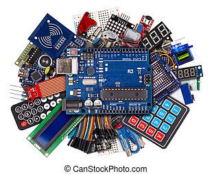 câble, commutateurs, bouton, planche, collage, microcontroller, blanc, capteur, fil, concept, équipement, électronique, fond, accessoires, exposer, isolé