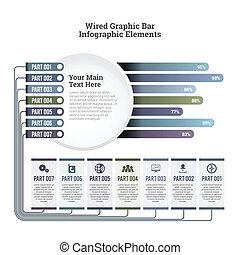 câble, graphique, infographic, barre
