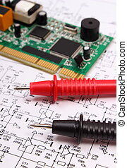 câble, multimètre, diagramme, circuit imprimé, électronique, planche