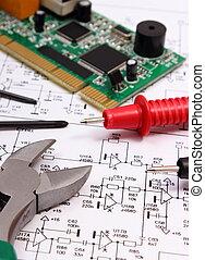 câble, multimètre, précision, diagramme, circuit imprimé, board., électronique, outils