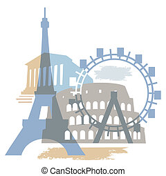 célèbre, bâtiments, européen