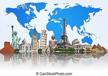 célèbre, mondiale, illustration, monument