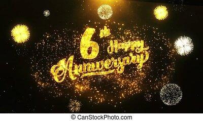 célébration, 6ème, salutation, anniversaire, voeux, fond, invitation, texte, heureux