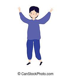 célébration, conception, isolé, jeune, haut, mains, icône, heureux, homme