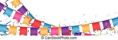 célébration, drapeaux, bannière, anniversaire, coloré, bruant
