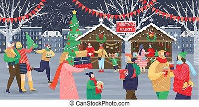 célébration, hiver, marché, noël, fetes