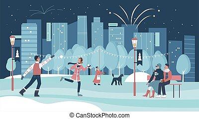 célébration, noël, noël, saison fête, ville, hiver