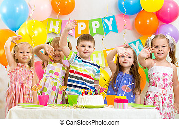 célébrer, anniversaire, vacances, enfants, heureux