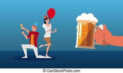 célébrer, bière, couple, fête, pot
