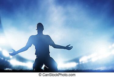 célébrer, but, football, joueur, victoire, match., football