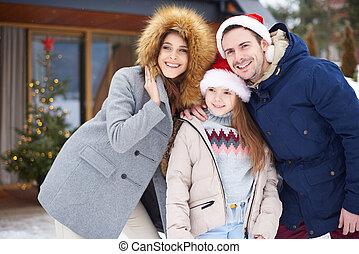 célébrer, dehors, noël, temps famille