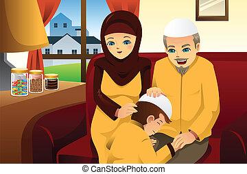 célébrer, famille, eid-al-fitr