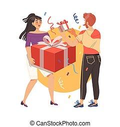 célébrer, femme, dons, donner, homme, occasions, vecteur, fetes, spécial, anniversaire, ou, illustration, aimer, autre