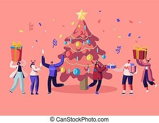 célébrer, heureux, nouveau, donner, amusement, noël, bash., constitué, guirlande, vecteur, ou, dessin animé, fête, avoir, confetti, illustration, famille, plat, gens, dons, danse, arbre, événement, décoré, année