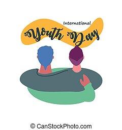 célébrer, jour, hommes, jeunesse, international, étreindre