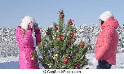 célébrer, neige, noël famille