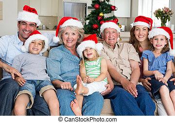 célébrer, santa, noël, famille, chapeaux