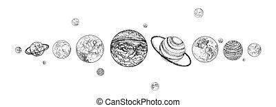 céleste, limite, colors., planètes, monochrome, extérieur, système, ligne., dessiné, space., objets, solaire, naturel, horizontal, arrangé, illustration., cosmique, haut, vecteur, corps, revêtu, gravitationally, row.
