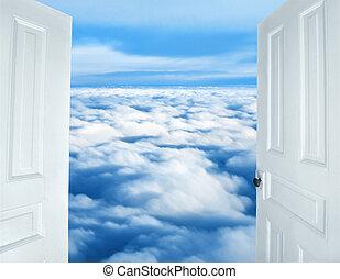 céleste, vue, portes ouvrant