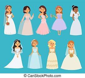 cérémonie, belle femme, amour, illustration., dress., mariées, blanc, vecteur, romance, mariée, mode, mariage, caractères, mariage, girl, robe, dessin animé, célébration