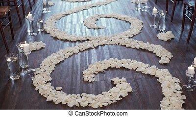 cérémonie, fleur, pétales rose, mariage, blanc