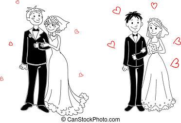 cérémonie, griffonnage, couple, mariage