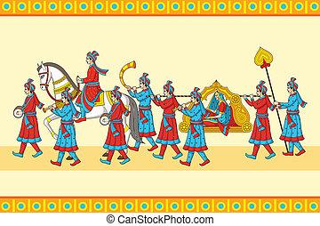 cérémonie, indien, baraat, mariage